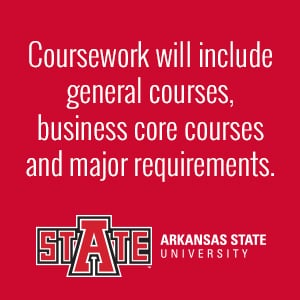 Coursework will include general courses, business core courses and major requirements