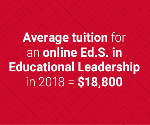 average cost of an online Ed.S. in Educational Leadership is $18,800